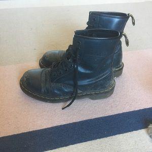 Worn doc martens originals in navy blue